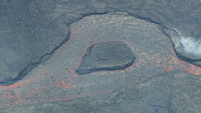 Aerial view of flowing natural red hot lava