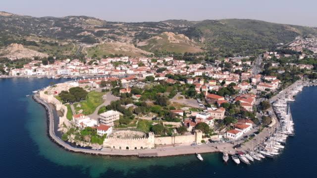 aerial view of foca, izmir - izmir stock videos & royalty-free footage