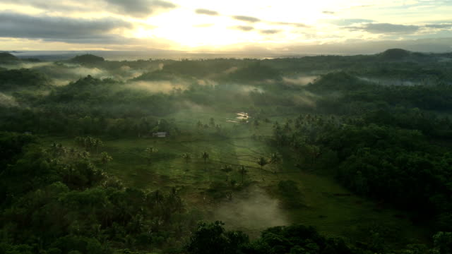 Aerial view of foggy Chocolate hills in Bohol island