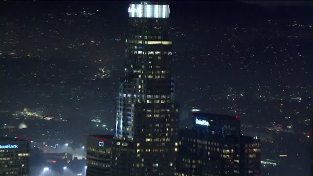 KTLA Aerial View of Foggy Downtown Los Angeles