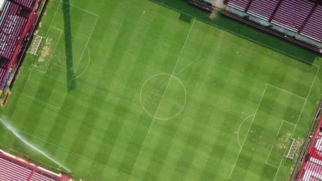 aerial view of football stadium - football pitch stock videos and b-roll footage
