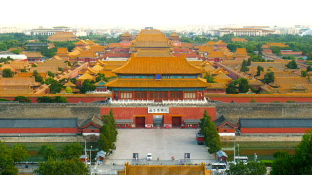 aerial view of forbidden city in beijing,china - tiananmen square stock videos and b-roll footage