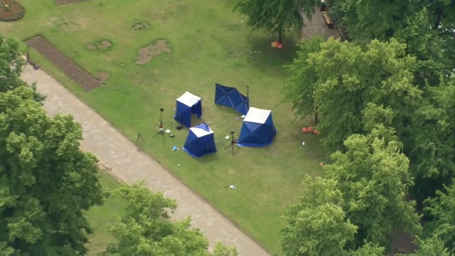 aerial view of forensic tents in forbury gardens after a stabbing terrorist attack - crime and murder stock videos & royalty-free footage