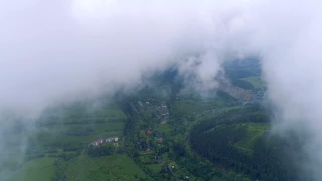 vídeos de stock, filmes e b-roll de vista aérea da floresta através das nuvens - no alto