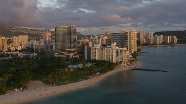 Aerial view of Fort DeRussy Beach Park and Waikiki, Hawaii.