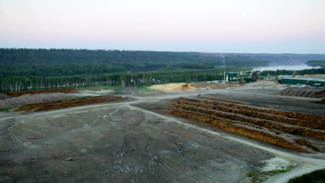 aerial view of fort mcmurray lumber company site - alberta stock videos & royalty-free footage