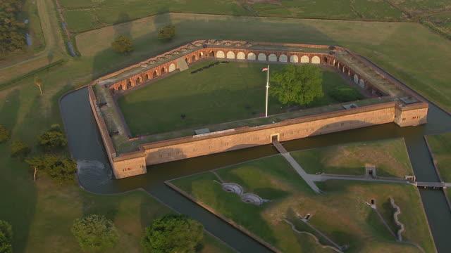 aerial view of fort pulaski national monument, savannah, georgia, united states of america - savannah georgia stock videos & royalty-free footage