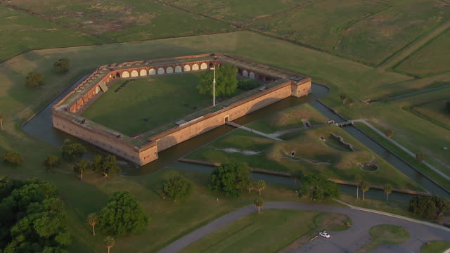 aerial view of fort pulaski national monument, savannah, georgia, united states of america - fortress stock videos & royalty-free footage