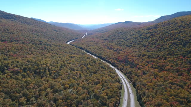 aerial view of franconia state forest and  interstate 93. new hampshire. usa - appalachian mountains stock videos & royalty-free footage