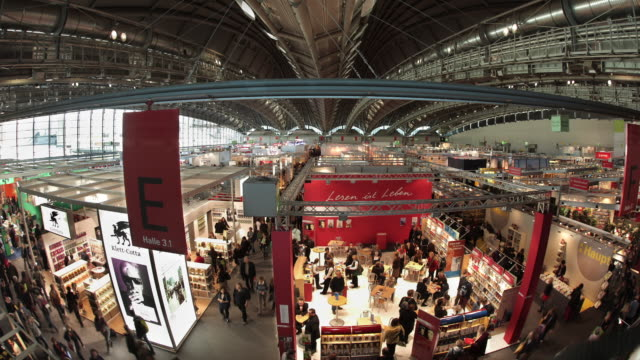 aerial view of frankfurt book fair - trade show stock videos and b-roll footage