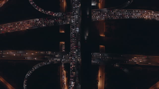 Aerial View of freeway busy city rush hour heavy traffic jam highway