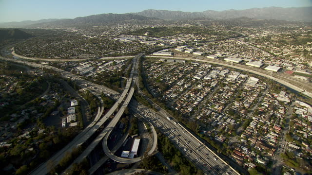 Aerial view of freeway interchange of the Golden State Freeway and the Glendale Freeway in Los Angeles.