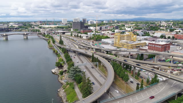 aerial view of freeway interchange - portland oregon stock videos & royalty-free footage