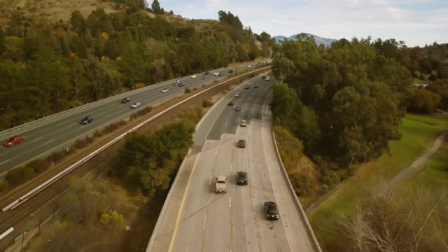 aerial view of freeway - motorway stock videos & royalty-free footage