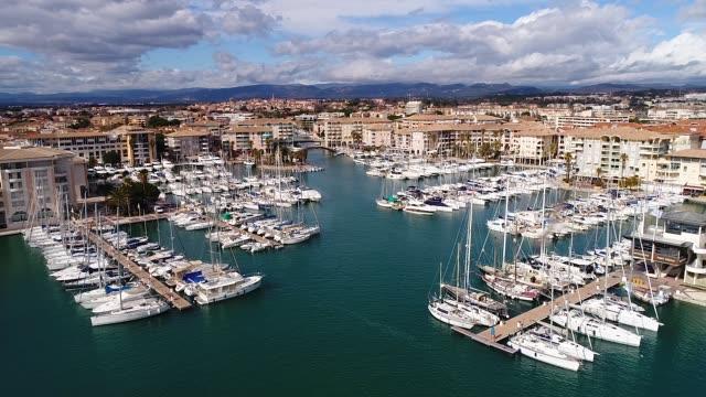 vidéos et rushes de aerial view of frejus harbor - var