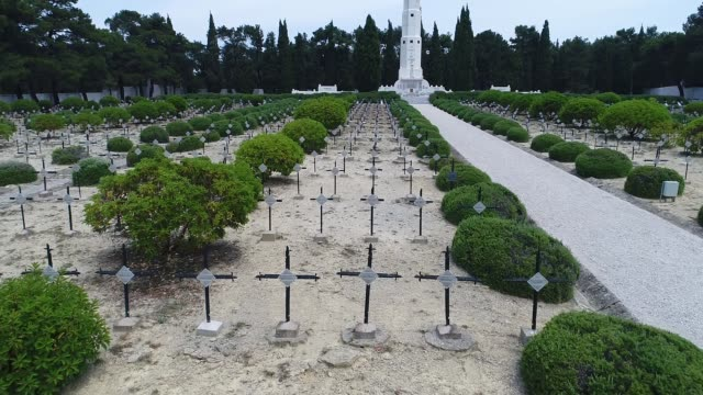 aerial view of french cemetery in gallipoli - anzac day stock videos & royalty-free footage
