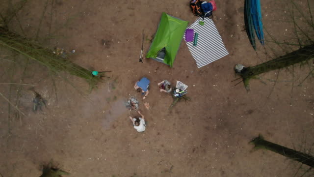 aerial view of friends camping together - rucksack stock videos & royalty-free footage