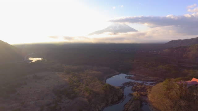 aerial view of fuji mountain - nagano prefecture stock videos and b-roll footage