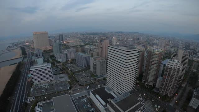 aerial view of fukuoka in daylight - fukuoka prefecture stock videos & royalty-free footage