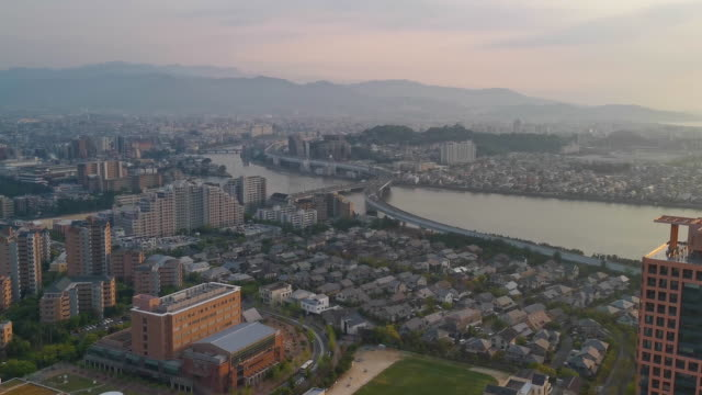 aerial view of fukuoka in daylight - fukuoka prefecture stock videos & royalty-free footage
