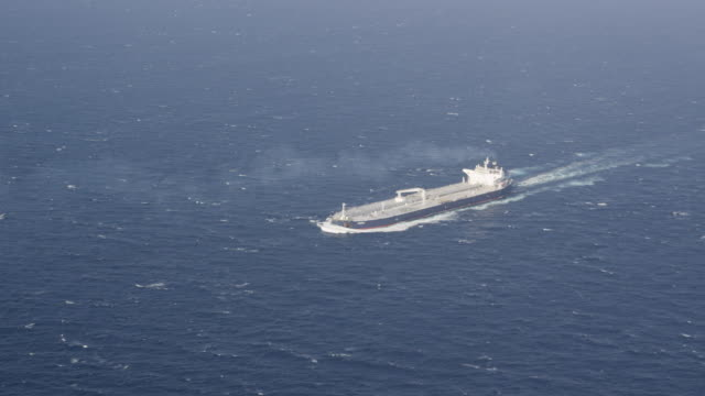 aerial view of fully laden supertanker (VLCC)
