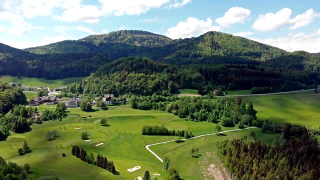 オーストリアのフシュルゼー湖空撮 - アッパーオーストリア点の映像素材/bロール