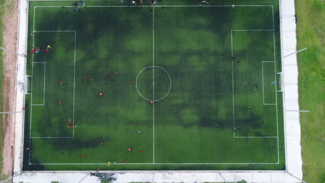 aerial view of futsal field - scoring a goal stock videos & royalty-free footage