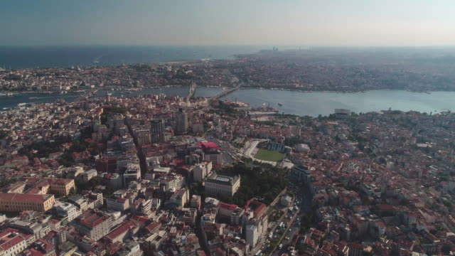 aerial view of galata bridge. istanbul. turkey. - istanbul stock videos & royalty-free footage