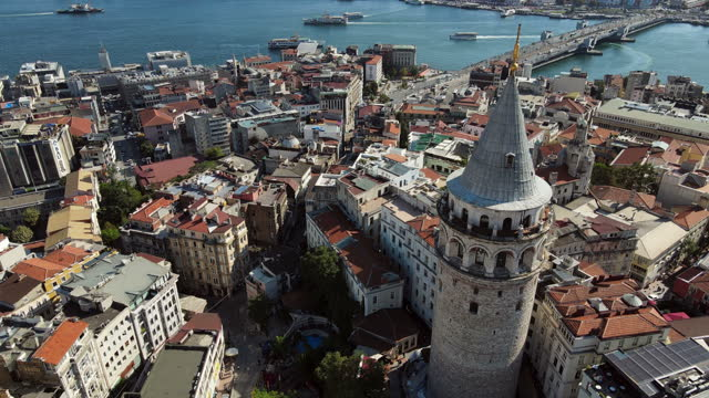 aerial view of galata tower at daylight in istanbul - istanbul stock videos & royalty-free footage