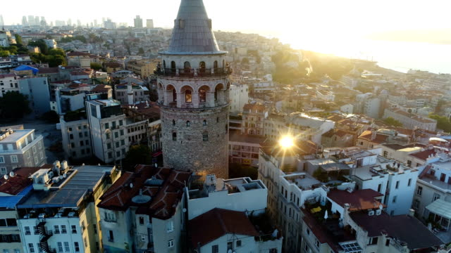 aerial view of galata tower at sunrise in istanbul - golden horn istanbul stock videos and b-roll footage