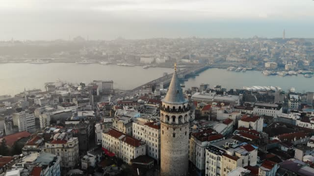 aerial view of galata tower in istanbul - ozgurdonmaz stock videos and b-roll footage