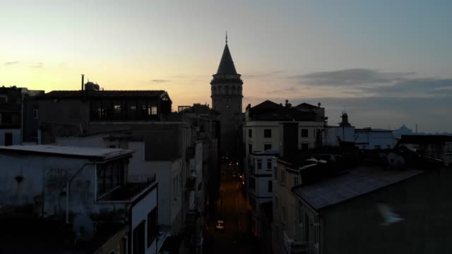 aerial view of galata tower in istanbul - golden horn istanbul stock videos and b-roll footage