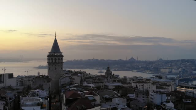 aerial view of galata tower in istanbul - byzantine stock videos & royalty-free footage