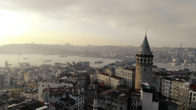 aerial view of galata tower in istanbul - istanbul stock videos & royalty-free footage