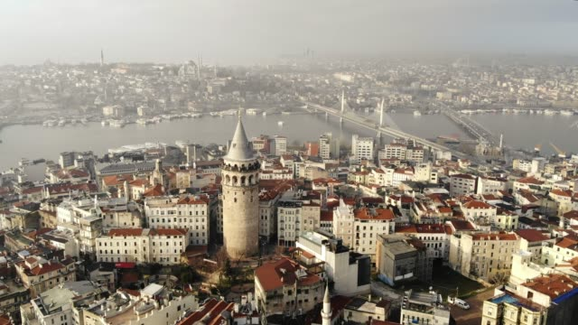aerial view of galata tower in istanbul - turchia video stock e b–roll