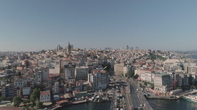 aerial view of galata tower. istanbul. turkey. - istanbul stock videos & royalty-free footage