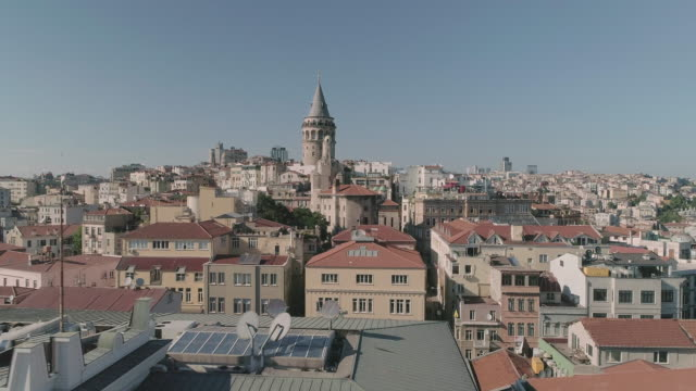 stockvideo's en b-roll-footage met aerial view of galata tower. istanbul. turkey. - istanboel