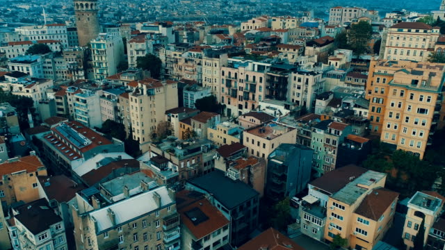 aerial view of galata tower istanbul - istanbul stock videos & royalty-free footage