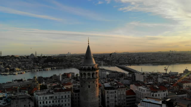 aerial view of galata tower sunset - dome stock videos & royalty-free footage