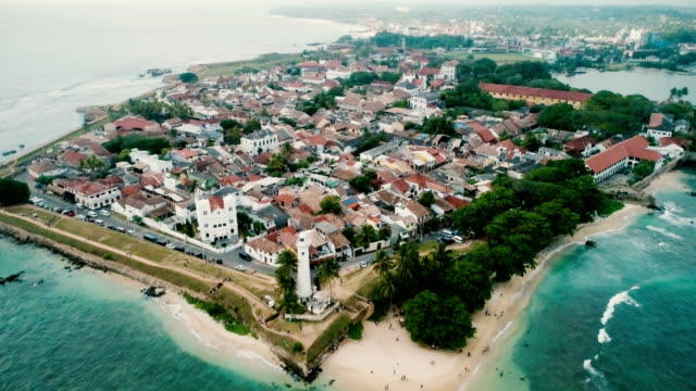 aerial view of galle fort - unesco world heritage site stock videos & royalty-free footage
