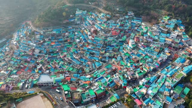 aerial view of gamcheon culture village in busan, south korea - busan stock videos & royalty-free footage