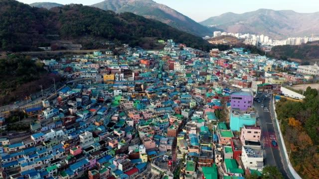 aerial view of gamcheon culture village in busan - santorini video stock e b–roll