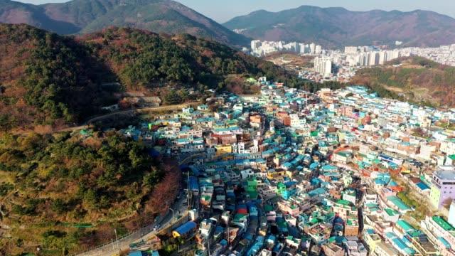 luftaufnahme des gamcheon culture village in busan - insel santorin stock-videos und b-roll-filmmaterial