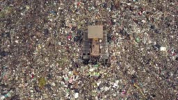 Aerial view of garbage mountain