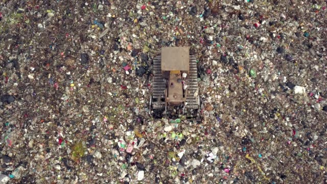 aerial view of garbage mountain - emergencies and disasters stock videos & royalty-free footage