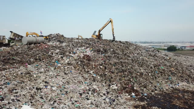 aerial view of garbage mountain - toxic waste stock videos & royalty-free footage