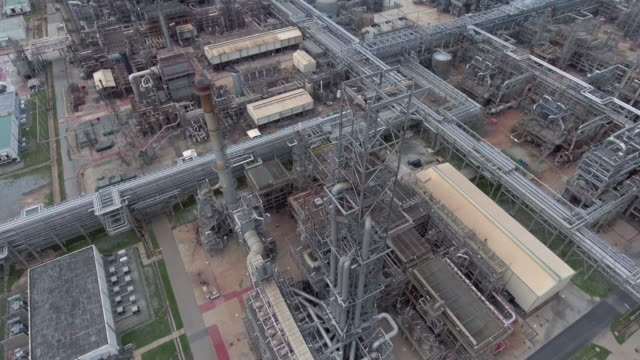 Aerial view of gas equipment, towers and pipelines