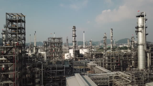 aerial view of gas equipment - power station stock videos & royalty-free footage