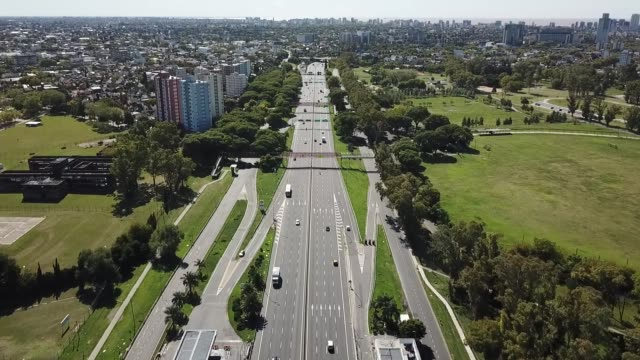 aerial view of general paz avenue, one of buenos aires main arteries on april 14, 2020 in buenos aires, argentina. national government extended... - buenos aires stock videos & royalty-free footage