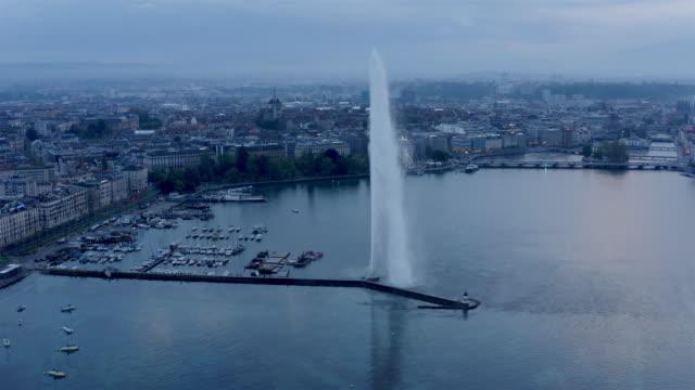 vídeos y material grabado en eventos de stock de vista aérea de ginebra, suiza - fuente estructura creada por el hombre